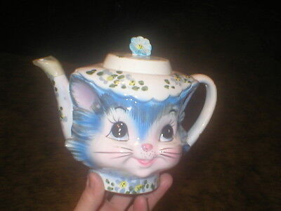 Lefton Miss Priss Kitty Tea Pot W/lid #1516 Vintage With Spout Protector