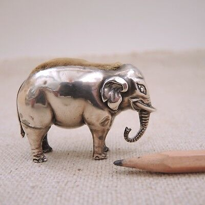 Sydney & Co Elephant Sterling Silver Pincushion 1907 Figural Pin Holder Antique