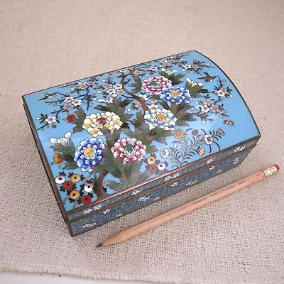 Antique Japanese Cloisonné Box Cigarette Jewelry Floral Bird Enamel Meiji Inaba?