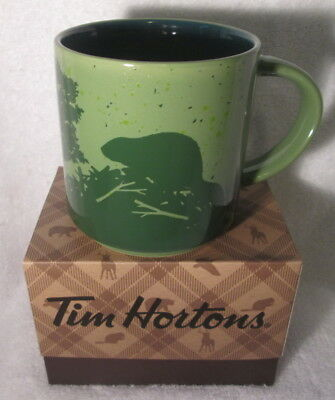 TIM HORTONS 2017 CHRISTMAS LTD Ed COFFEE MUG  GREEN BEAVER WITH BOX NEW