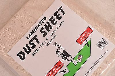 1 X LAMINATED - 100 % COTTON DUST SHEET 12ft x 9ft Plastic Backed Spill Protect