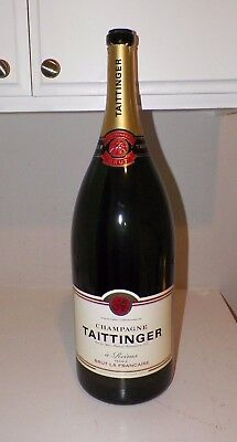 "Vintage Large Taittinger Champagne Display Bottle Empty 23"" Tall"