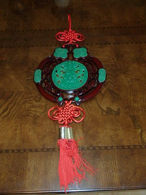 Chinese LUCKY Red Knot Tassle Wall Hanging Buddah Effigy Jade Color
