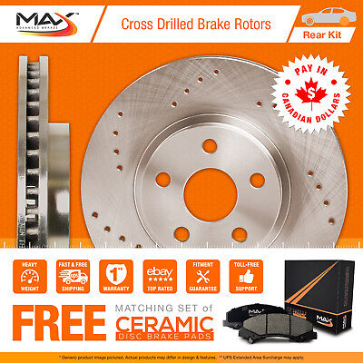 2013 2014 2015 Ford Taurus Non SHO Cross Drilled Rotors AND Ceramic Pads Rear