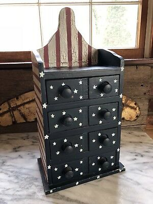 Vintage Wood 4 Drawer Apothocary Spice Wall Cabinet Cupboard Americana Flag Star
