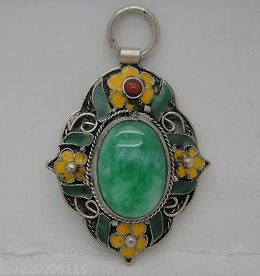 Collectible Decorated Old Miao silver Handwork inlay Natural Green Jade pendant