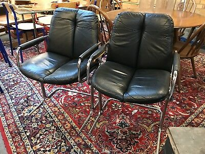 Superb Pair Of 1970's Black Leather Designer Chairs. Open To Offers.