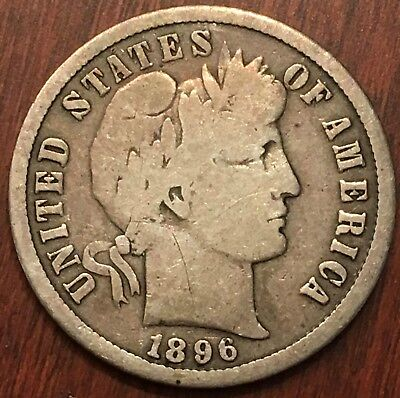 1896-S Barber Dime Nice Coin Free Shipping