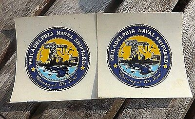 Nifty Pair Of Vintage 1960S Unused Window Decals Philadelphia Naval Shipyard