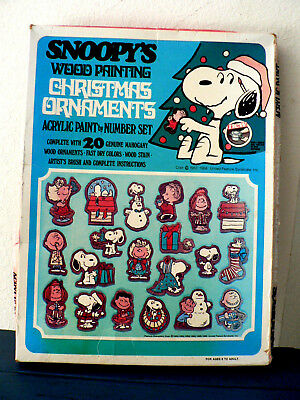 SNOOPY Vintage Christmas Ornaments Paint By Number Kit 1966 Peanuts New in Box