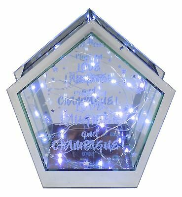 Love Laughter Champagne Silver Glitter Mirrored Glass Led Ornament 19 X 21 X 7Cm