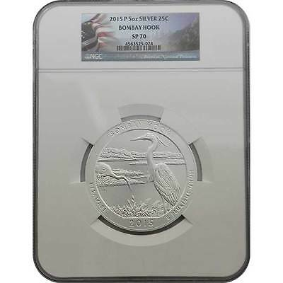 2015 P Bombay Hook NGC SP70 America The Beautiful 5 oz Silver Coin (Flag Label)