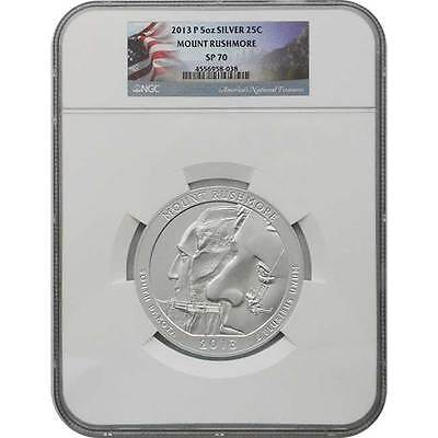 2013 P Mount Rushmore NGC SP70 ATB 5 oz Silver Coin (Flag Label)