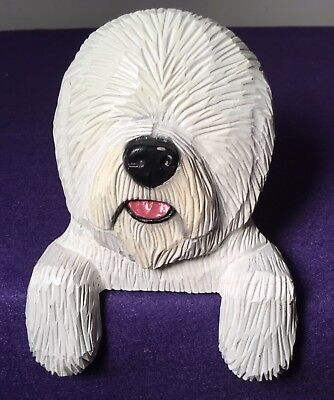 Old English Sheep Dog Sheepdog Figurine Carved wood by Michael Park 2002 Wall