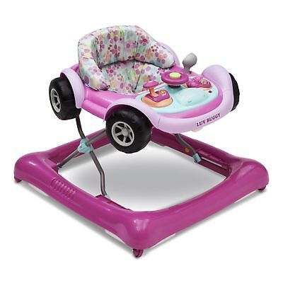 Delta Children Lil Drive Play Car Style Rolling Baby Bouncer Walker, Luv Buggy