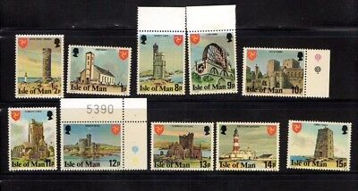 1978 - Isle Of Man Landmarks Part Set Of Ten Stamps All Mint Never Hinged