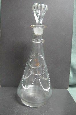 Antique Blown Glass Bottle with stopper deccorated with enamel