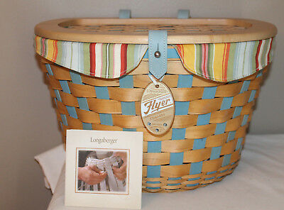 2006 Longaberger Bicycle Basket,  Lid, Protector, Flyer Tie-On, Fabric, Blue