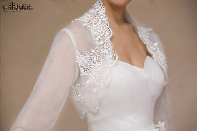 New White Lace Applique Collar Wedding Bridal Bolero Jacket Shawl Shrug