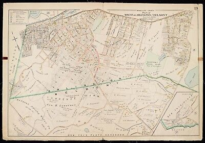 1900 Middlesex County Ma.  Arlington, Belmont Winter St To Pleasant St Atlas Map