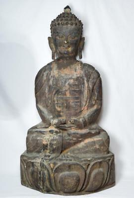 Antique Buddha Wooden Statue 70cm Tall 18th/19th Century
