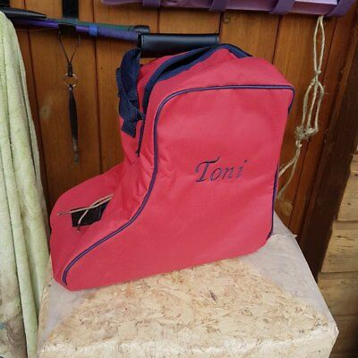Personalised, Embroidered Short Boot Bag, Riding Boot Bag, Yard Boot Bag