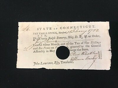 1782 State of Connecticut Pay Table Office Six Pound Note