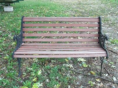 Antique Lions Head Cast Iron and Wood park garden bench