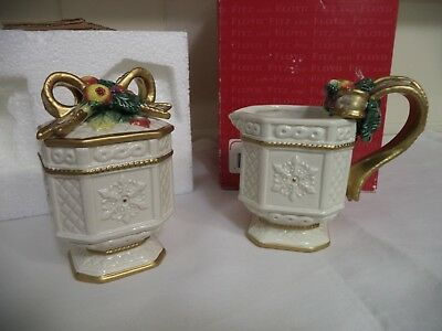 Fitz and Floyd Snowy Woods Holiday Sugar and Creamer Set-New in Box-Never used!