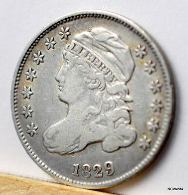 1829  10C Capped Bust Silver Dime Vf