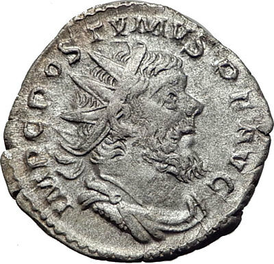 POSTUMUS  with globe & spear 261AD  Silver Authentic Ancient Roman Coin i65353