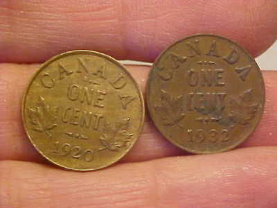 1920 & 1932 Canadian Small Cent Penny  George V