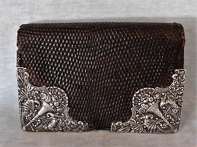 Antique VICTORIAN Gorham STERLING SILVER LEATHER snakeskin Wallet FLOWER BOUQUET