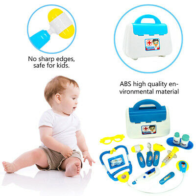 15Pcs Kids Role Play Doctor Nurse Pretend Toy Medical Set & Hard Carry Tool case