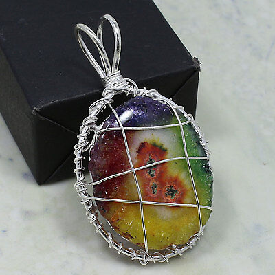 Most Beautiful Natural SOLAR QUARTZ Gemstone Pendant 925 Sterling Silver Plated