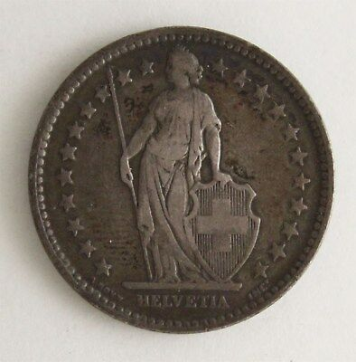 Original 1875 Early Silver Two Franc Piece Helvetia Swiss Switzerland Coin NR