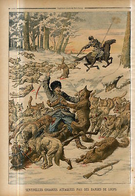 1904 Russian cossack sentries attacked by packs of wolves in Manchuria Print