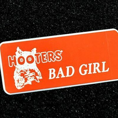 """""""PURE EVIL"""" - Hooters Girl Uniform Orange Name Tag Badge Pin excellent condition"""