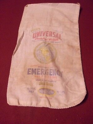 Flour Bag UNIVERSAL MILLS Fort Worth Texas 10 lbs Cloth Gold Chain