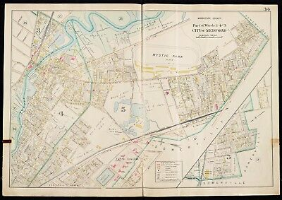 1900 Middlesex County Massachusetts Medford,Tufts College Mystic Park Atlas Map