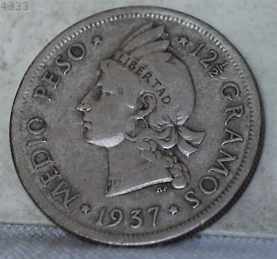1937 *Silver* Dominican Republic 1/2 Peso *Free S/H After 1st Item*