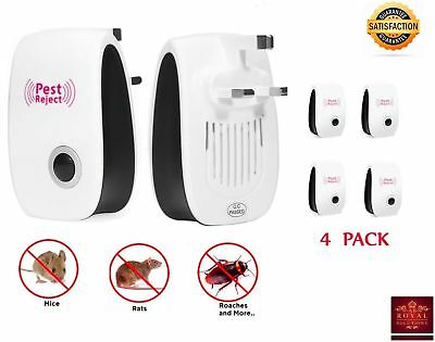 4 PACK Pest Control Whole House Electronic Rat Mouse Mice Repeller Plugs plug in
