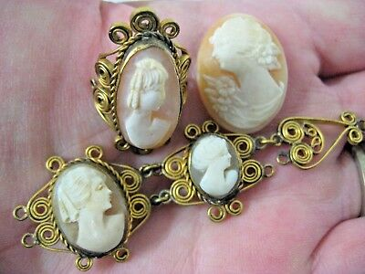 Vintage Antique Victorian Loose Cameo Lot Repurpose Old Hand Carved Cameos 6PC
