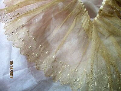 Gossamer Antique Edwardian French Sheer Delicate Embroidered Lace Flounce Trim