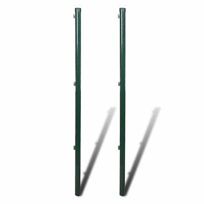vidaXL 2pcs Garden Mesh Fence Post 175cm Iron Outdoor Wire Fencing Heavy Duty