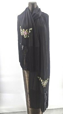 "Vintage 82"" Long Black Sue Wong Embroidered Fringe Shawl Scarf Silk Lined"