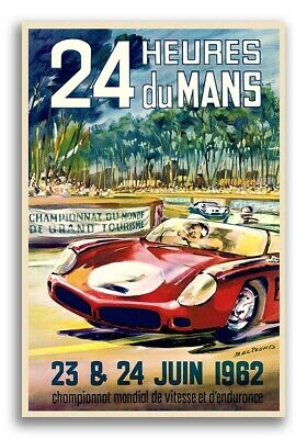 1962 French Automotive Racing Poster 24 Hours of Le Mans - 24x36
