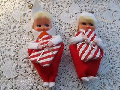 Vintage Lot Of 2 Felt Christmas Pixie Ornaments With Gifts