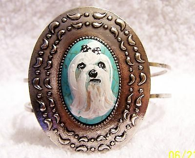 hand painted Maltese painting on natural turquoise stone silver   bracelet