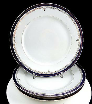 "Staffordshire Porcelain #6798/7 Art Deco Cobalt & Gilt 3 Pc 9 5/8"" Dinner Plates"